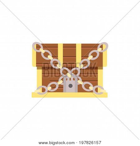 wooden chest . cartoon chest with lock. eps10