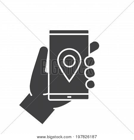 Hand holding smartphone glyph icon. Silhouette symbol. Smartphone gps navigation app. Negative space. Vector isolated illustration