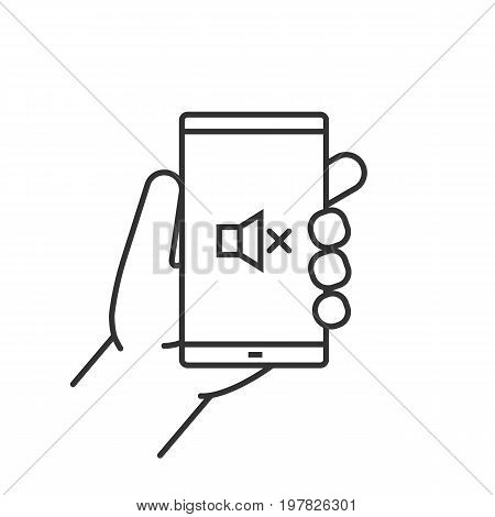 Hand holding smartphone linear icon. Thin line illustration. Smart phone sound off contour symbol. Vector isolated outline drawing