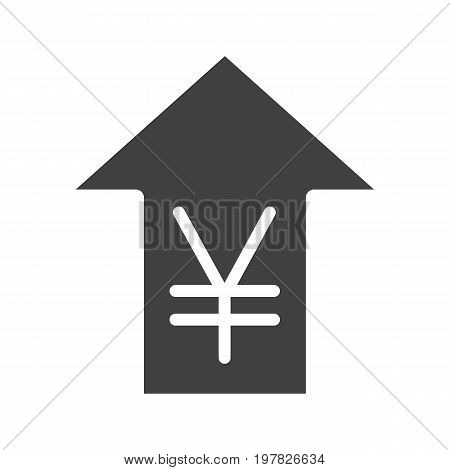 Yen rate rising glyph icon. Silhouette symbol. China and Japan currency with up arrow. Negative space. Vector isolated illustration