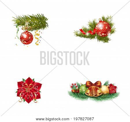 Christmas ornament icon set. Bauble on Christmas tree Ornate red bauble Poinsettia flower Bells and baubles