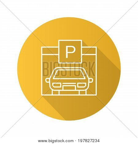 Parking place flat linear long shadow icon. Auto shed. Car garage with P sign. Vector outline symbol