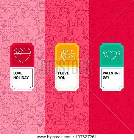 Line Valentine Patterns Set. Vector Illustration of Logo Design. Template for Packaging with Labels.