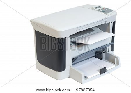Printer isolated on a white background .