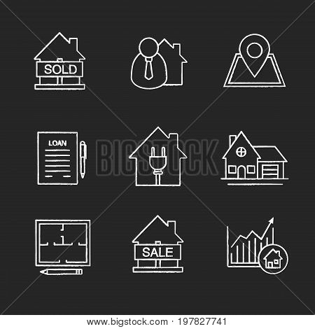 Real estate market chalk icons set. Sold house, broker, building location, loan, agreement, cottage, floor plan, house for sale, real estate growth chart. Isolated vector chalkboard illustrations