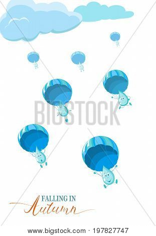 Autumn season banner, flyer, concept with rain drops falling down with parachutes. Vector illustration in eps10 format.