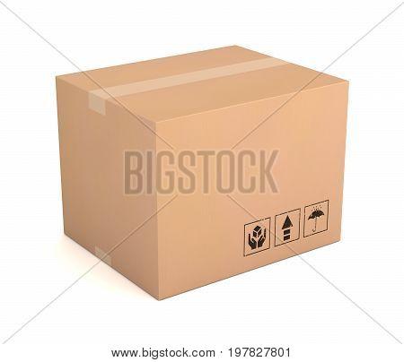 Blank Cardboard Box 3D Illustration