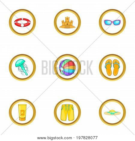 Summer adventures icons set. Cartoon set of 9 summer adventures vector icons for web isolated on white background