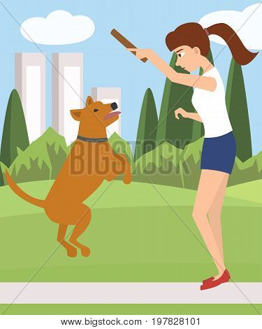 girl playing with dog at park - funny vector cartoon illustration