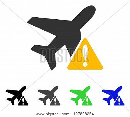 Aircraft Warning flat vector illustration. Colored aircraft warning gray black blue green pictogram variants. Flat icon style for graphic design.