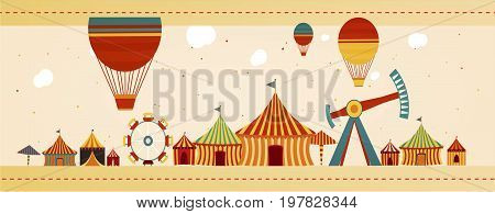 Banner concept of isolated Circus fair day