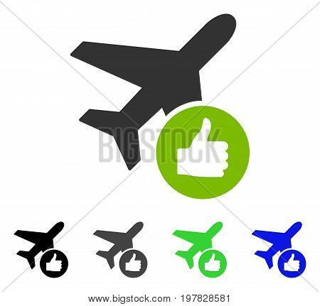 Airplane Valid flat vector pictogram. Colored airplane valid gray black blue green icon variants. Flat icon style for web design.