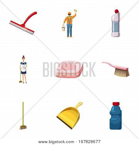 Cleaning staff icons set. Cartoon set of 9 cleaning staff vector icons for web isolated on white background