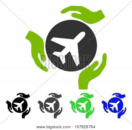 Aviation Care flat vector illustration. Colored aviation care gray black blue green icon variants. Flat icon style for application design.