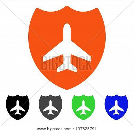 Aviation Shield flat vector illustration. Colored aviation shield gray black blue green pictogram variants. Flat icon style for graphic design.