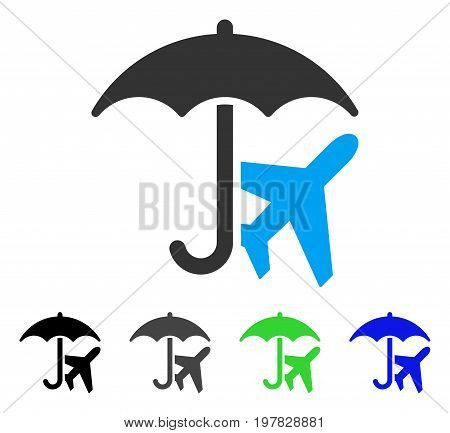 Aviation Umbrella flat vector pictogram. Colored aviation umbrella gray black blue green pictogram variants. Flat icon style for graphic design.