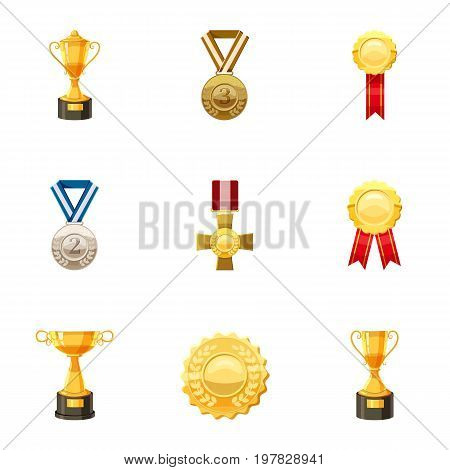 Medals and awards icons set. Cartoon set of 9 medals and awards vector icons for web isolated on white background