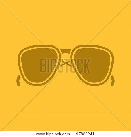 Sunglasses glyph color icon. Silhouette symbol. Aviators. Negative space. Vector isolated illustration