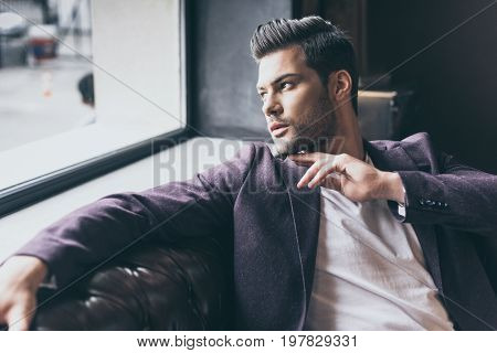 Handsome Man With Fashionable Hairstyle