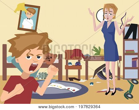 mom and problem child at messy kids room - funny cartoon vector illustration