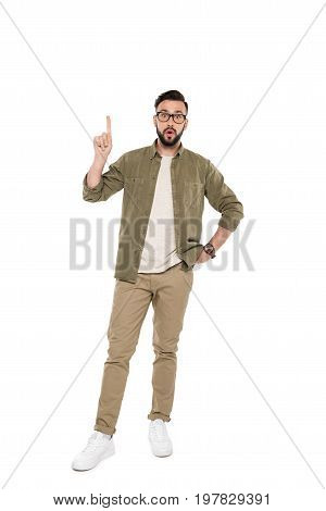 Man Pointing Up With Finger