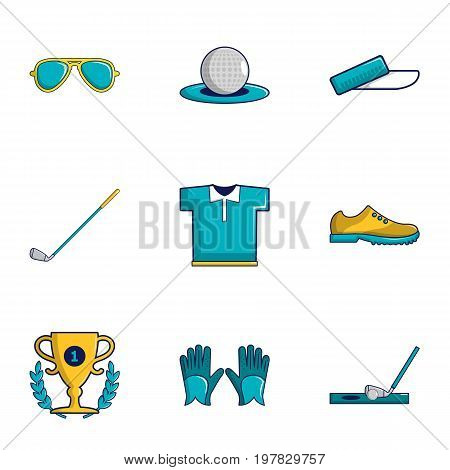 Golf tournament icons set. Cartoon set of 9 golf tournament vector icons for web isolated on white background