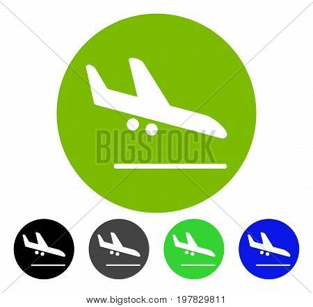 Valid Airplane Landing flat vector icon. Colored valid airplane landing gray black blue green icon versions. Flat icon style for application design.