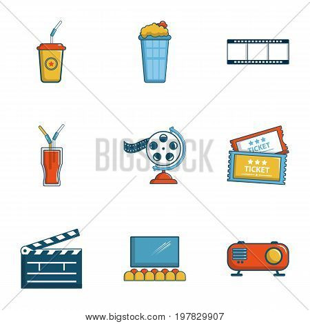Cinema entrance icons set. Cartoon set of 9 cinema entrance vector icons for web isolated on white background