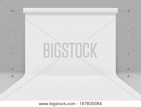 Empty photo studio. Realistic 3D template mock up. isolated on grey background. Vector illustration. Eps 10. 3d studio setup with white background