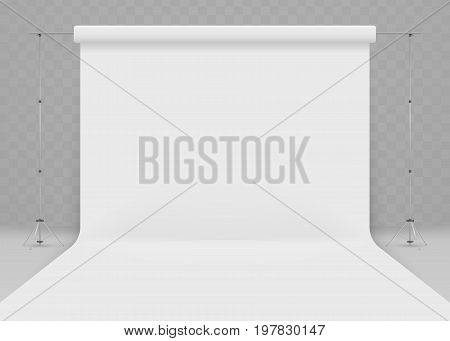 Empty photo studio. Realistic 3D template mock up. isolated on transparent background. Vector illustration. Eps 10. 3d studio setup with white background