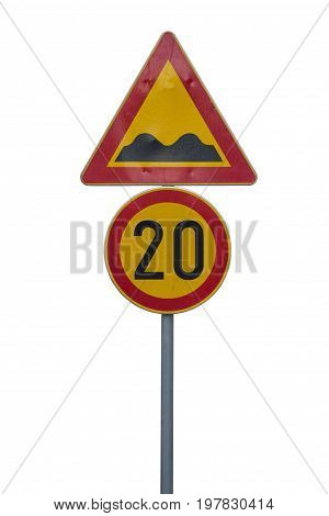 Speed Limit Sign And Speed Bump Sign
