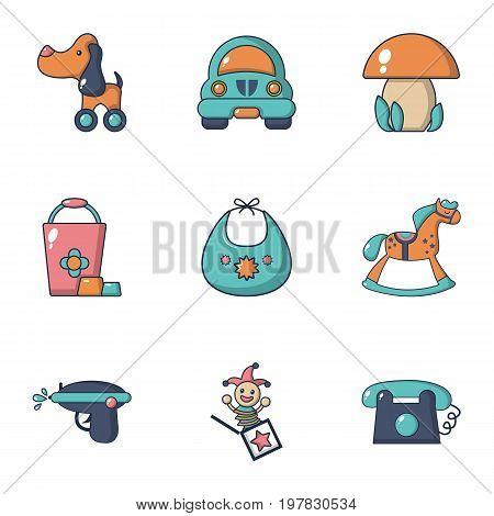 Boy toys icons set. Flat set of 9 boy toys vector icons for web isolated on white background