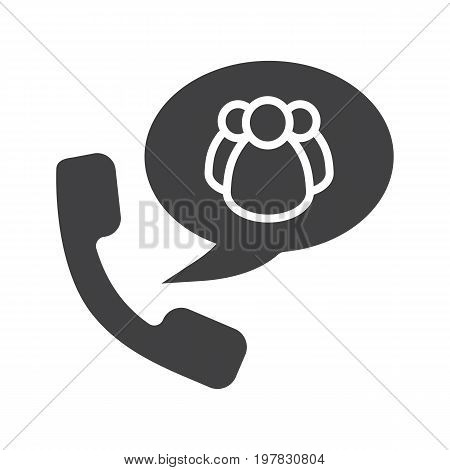 Group chat by phone glyph icon. Silhouette symbol. Handset with group of people inside chat box. Negative space. Vector isolated illustration