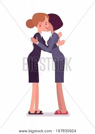 Businesswomen giving a hug, wearing office blazer and classic pencil skirt, important support. Polite friendly gesture. Vector flat style cartoon illustration, isolated, white background