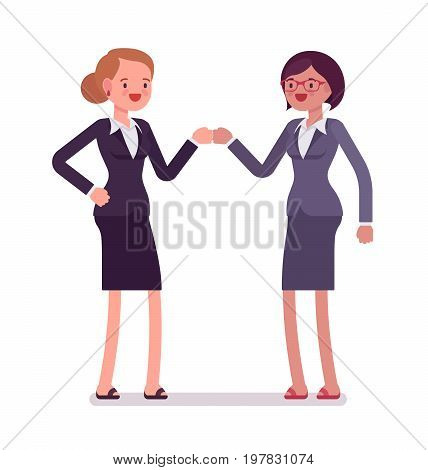 Businesswomen fist bump, wearing office blazer and classic pencil skirt, approval, brainstorming result. Polite friendly gesture. Vector flat style cartoon illustration, isolated, white background
