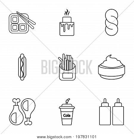 Snacks icons set. Outline set of 9 snacks vector icons for web isolated on white background