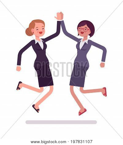 Businesswomen high five jumping, deal of the day celebration, wearing office blazer, classic pencil skirt. Polite friendly gesture. Vector flat style cartoon illustration, isolated, white background