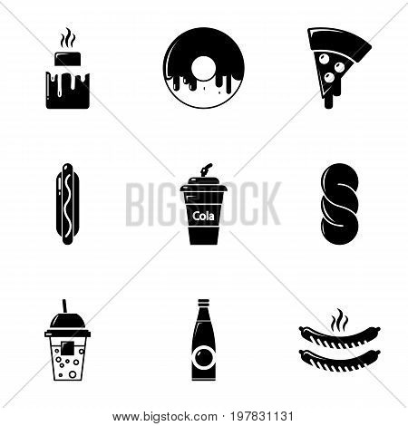 Snacks icons set. Simple set of 9 snacks vector icons for web isolated on white background