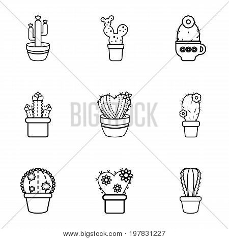 Type of cactus icons set. Outline set of 9 type of cactus vector icons for web isolated on white background