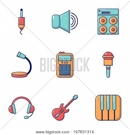 Voice recording icons set. Flat set of 9 voice recording vector icons for web isolated on white background