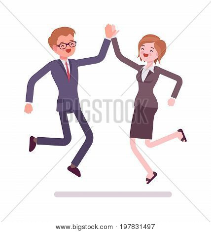 Businesspeople high five jumping. Opportunities and promotion, interpersonal skills. Office protocol concept. Vector flat style cartoon illustration, isolated, white background