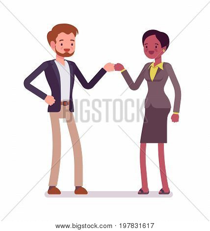 Businessman and businesswoman fist bump gesture. Office rules, standard friendly cross-cultural greeting. Business manner concept. Vector flat style cartoon illustration, isolated, white background
