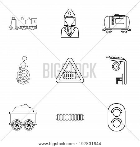 Train icons set. Outline set of 9 train vector icons for web isolated on white background