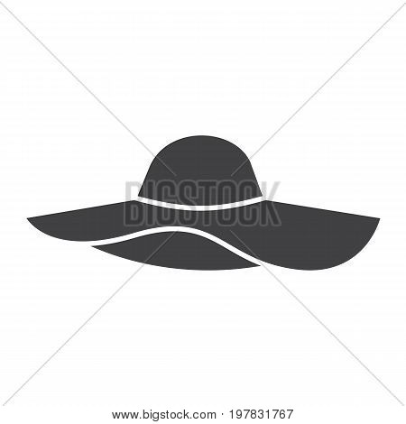 Women's beach hat glyph icon. Silhouette symbol. Negative space. Vector isolated illustration