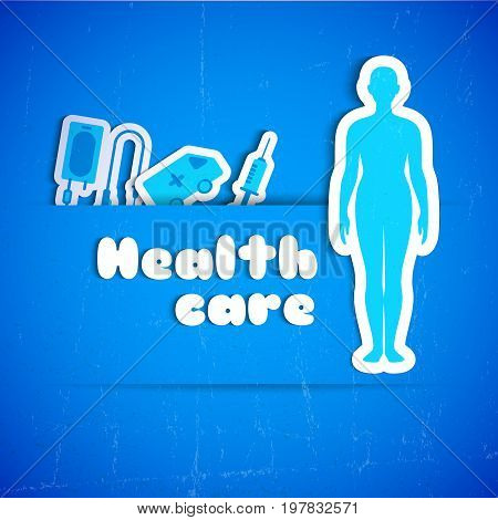 Blue health care background with naked person silhouette and medical equipment flat vector illustration
