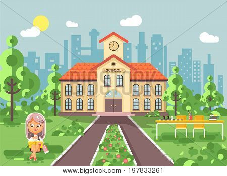 Stock vector illustration child character schoolgirl pupil apprentice sitting on grass near trees bushes exterior schoolyard read book doing homework school building gymnasium background in flat style.