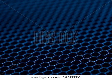 blue metal grid background. Abstract background close up.