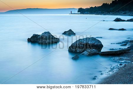 Long exposure of a sunset at the sea in Cres