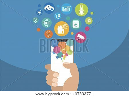 Smart home automation concept. Vector illustration of hand holding modern bezel-free / frameless smartphone with icons