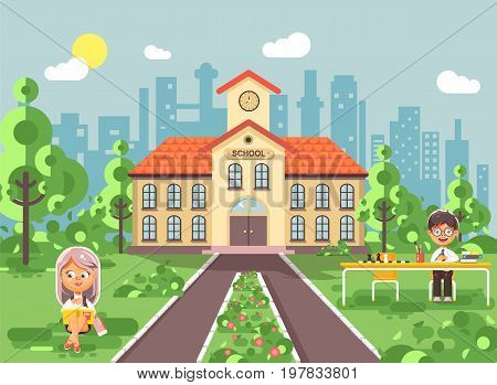 Stock vector illustration back to school character schoolgirl schoolboy pupil sitting on grass, exterior schoolyard, girl reads book, boy doing homework at table, gymnasium background in flat style